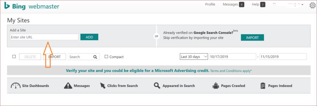 Add Site in Bing Search Console