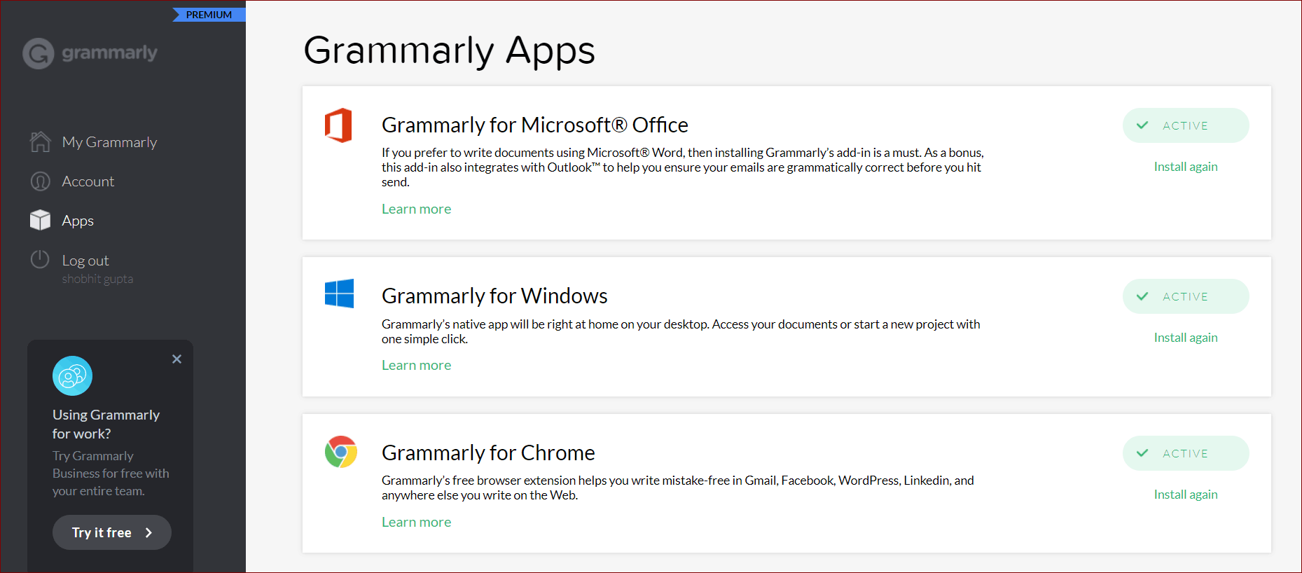 Grammarly for Word Outlook