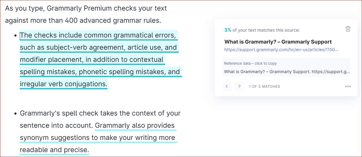 Plagiarism Check of Grammarly Premium