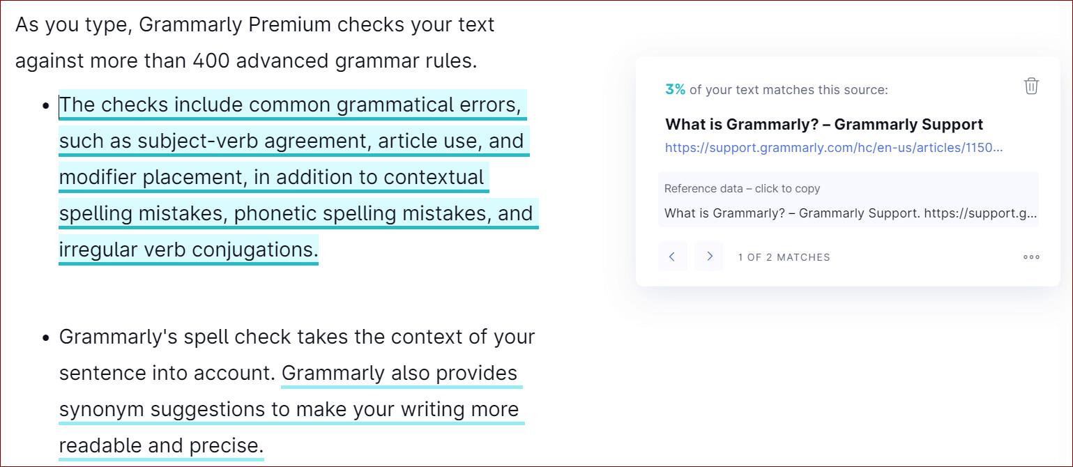 Plagiarism Check of Grammarly Premium