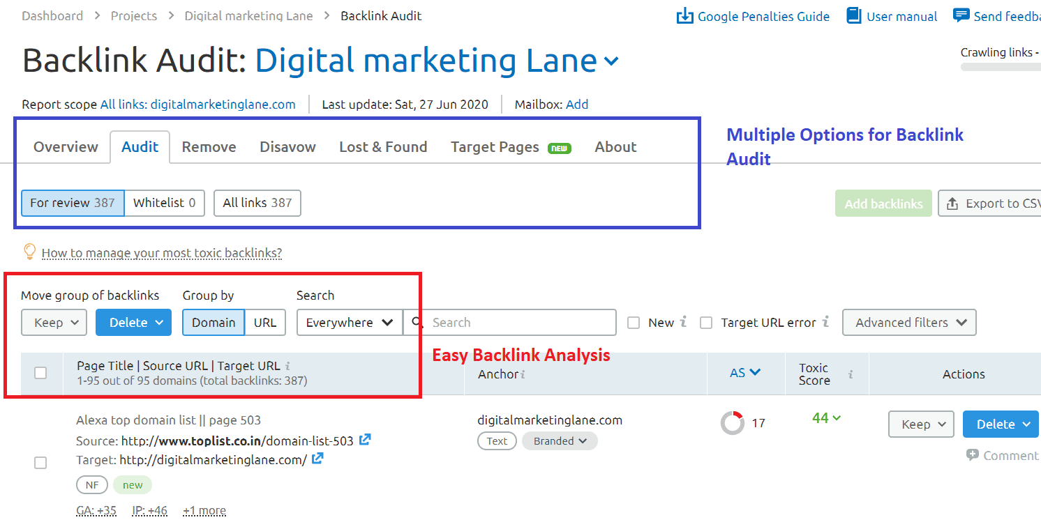Backlink Audit using Sem Rush