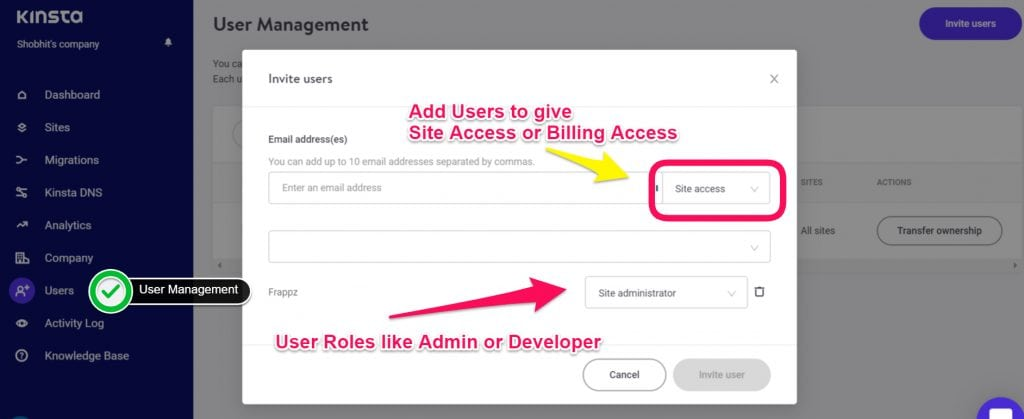 Kinsta Managed WordPress Hosting Dashboard