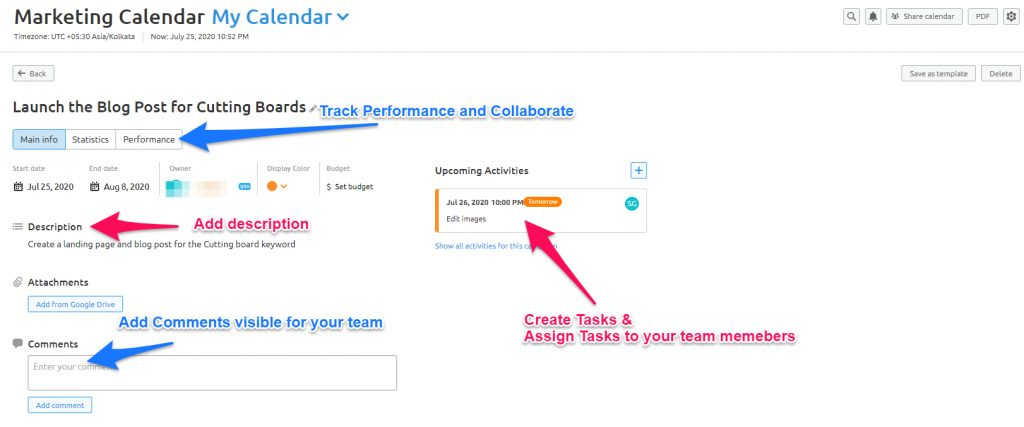 Marketing Calendar from SEMrush content Marketing Toolkit