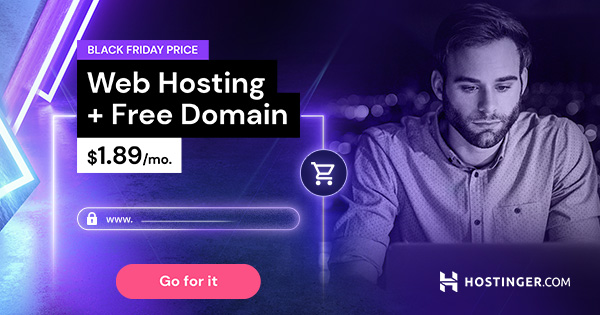 Black Friday Web Hosting Hostinger Sale 2020