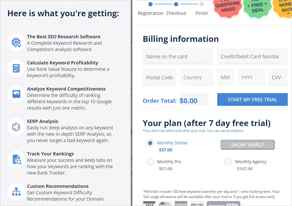 Long Tail pro Pricing plan