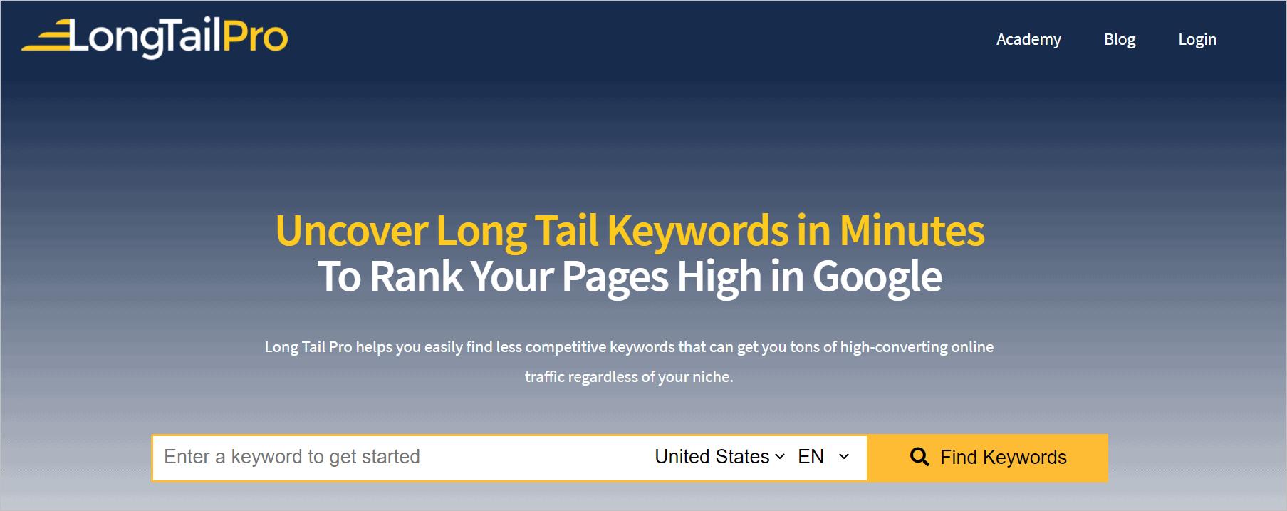 Long Tail pro Seo tool keyword generator