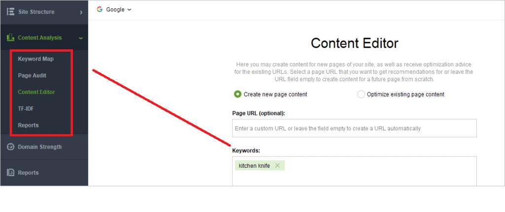 Content Editor in SEO Powersuite
